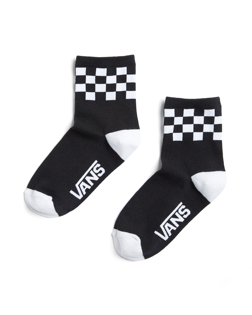 Black crew socks with a black & white checked band around the ankle.