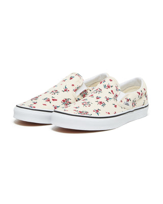 classic slip on vans featured in ditsy floral