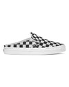 black and white Vans slip on mule