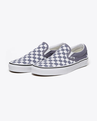 blue granite checkered slip on vans