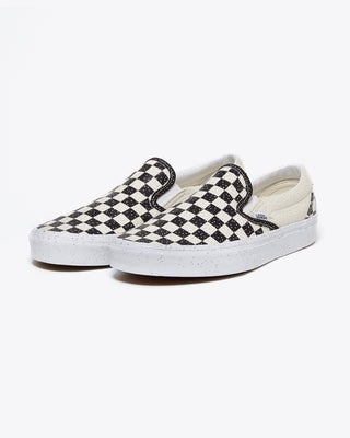 confetti black and white checkered slip on vans
