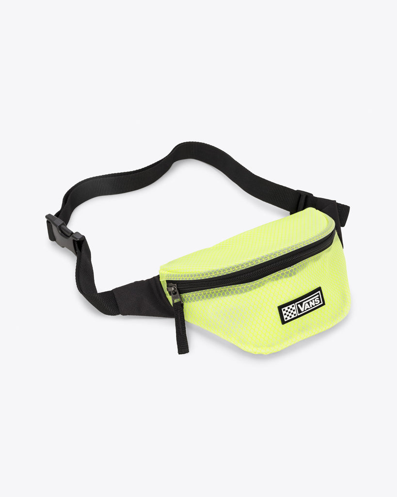 Neon lime honeycomb colored fanny pack with adjustable strap and zipper opening