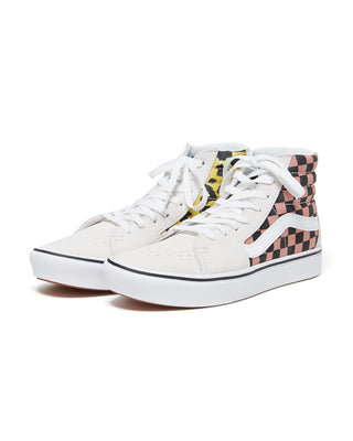 off-white high top sneakers with checkerboard and animal print details
