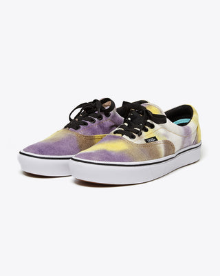 purple and yellow blotched era vans