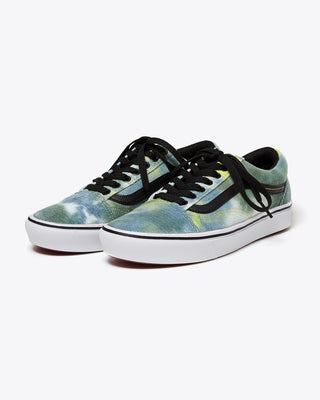 blue and green blotched old skool vans