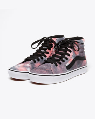 pink and black blotched sk8-hi vans