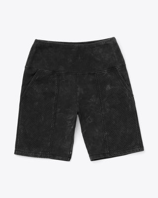 black bike shorts with subtle fade wash