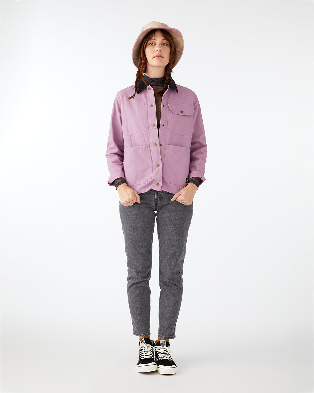 100% cotton canvas jacket in lilac.