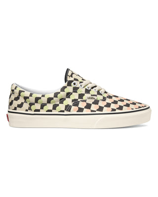 Vans era sneakers in black and cream checkerboard with lime green and peach dot pattern all over