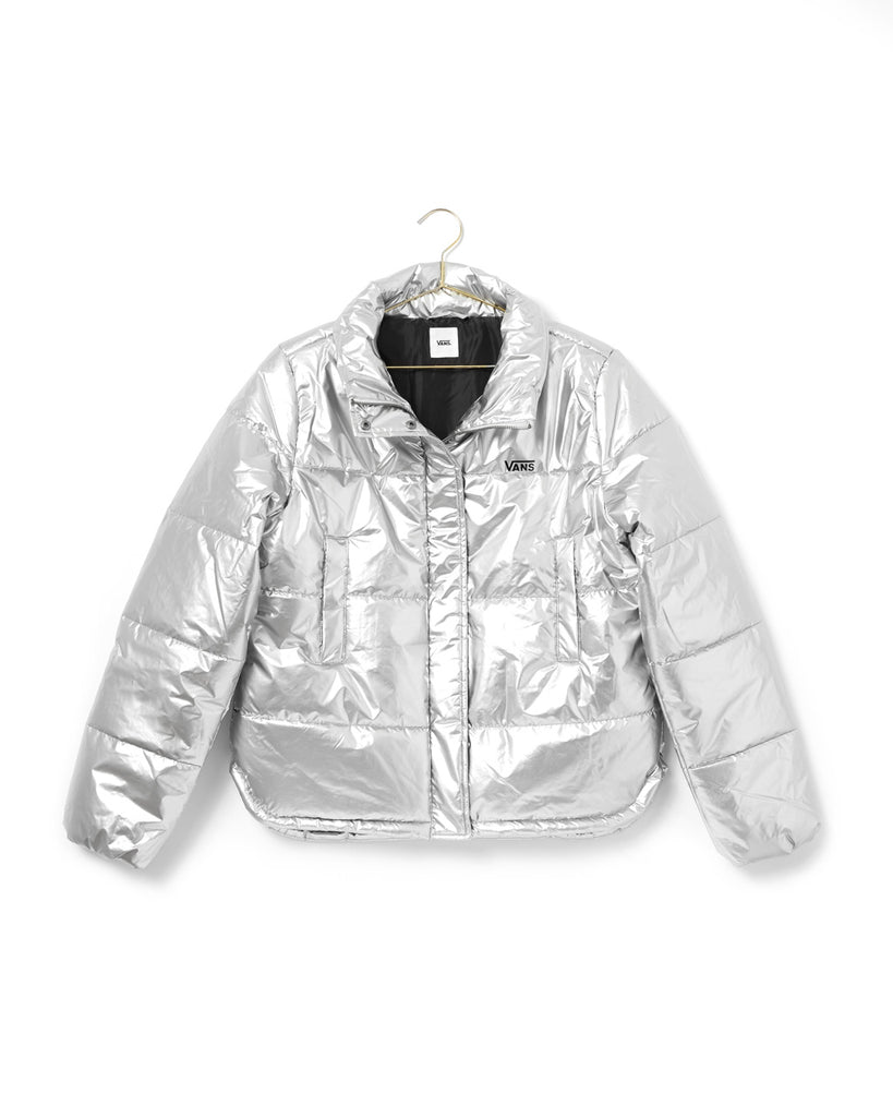 silver puffer jacket with the Vans logo on the chest