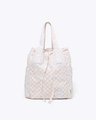 silver peony checkered bucket bag