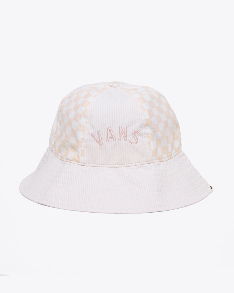 silver peony checkered bucket hat with VANS logo