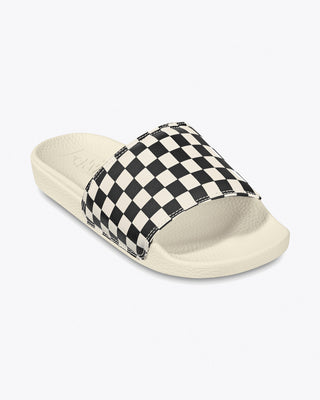 vans sandal slides with white sole and checkerboard strap