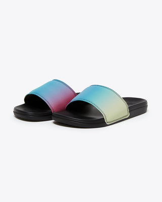 vans sandal slides with black sole and multicolored ombre strap