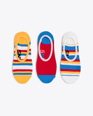 set of 3 no show socks each with a different design, yellow with red white blue and yellow stripes, red with a blue toe and heel, white with yellow red blue and white stipes
