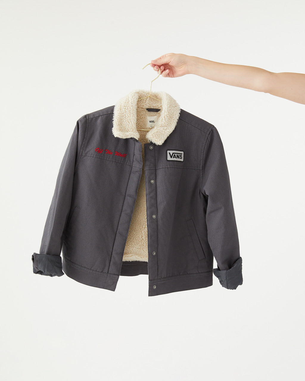 Asphalt oil change jacket with sherpa collar and lining.