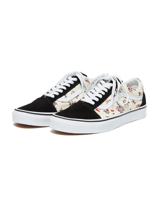 old skool vans in black and ditsy floral