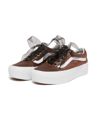old skool platform - bronze glitter