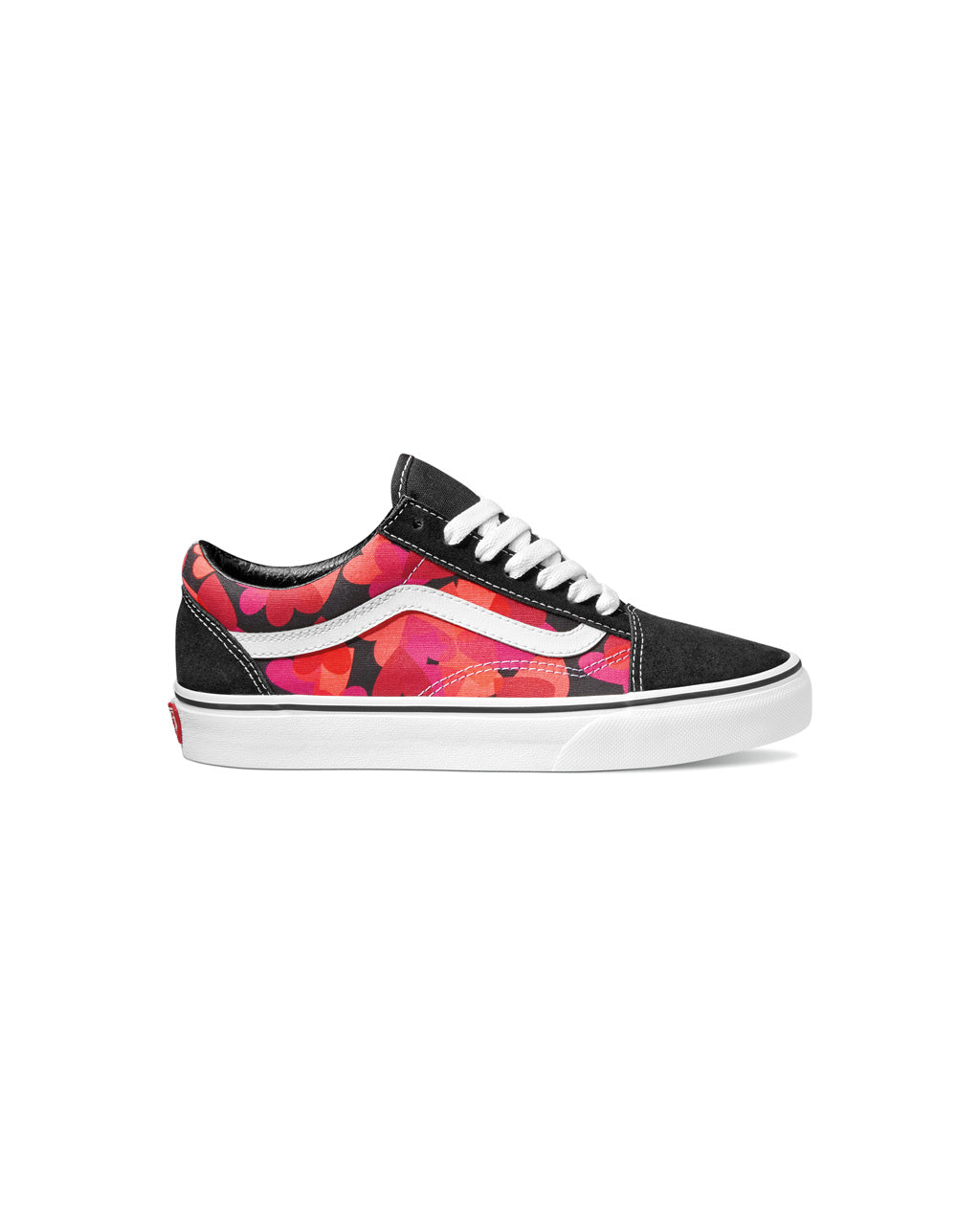old skool vans with red and pink heart pattern with black toe and heel and white sole