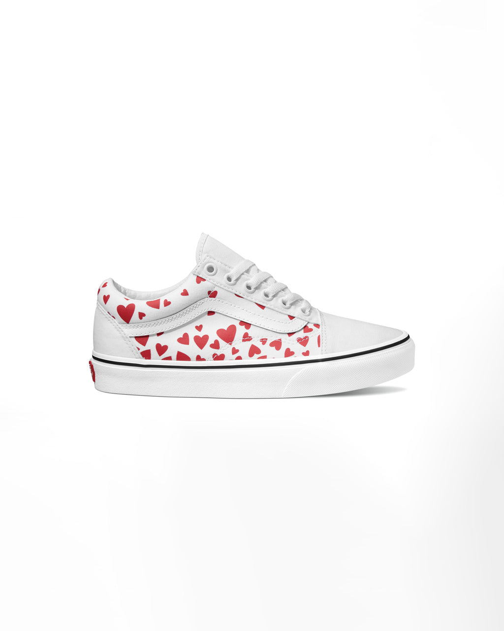 white old skool vans with red heart pattern with white toe, heel and sole