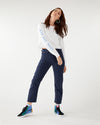 Wedgie straight jeans in navy corduroy.
