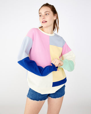 Pastel color patch crew sweatshirt