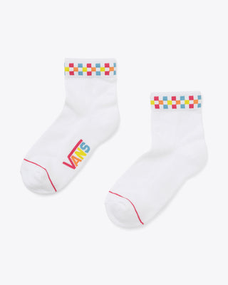 Vans Peek-a Check socks in white, with multicolor checkerboard detail