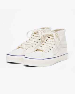 vans sk8-hi retro sneaker in marshmallow with blue trim