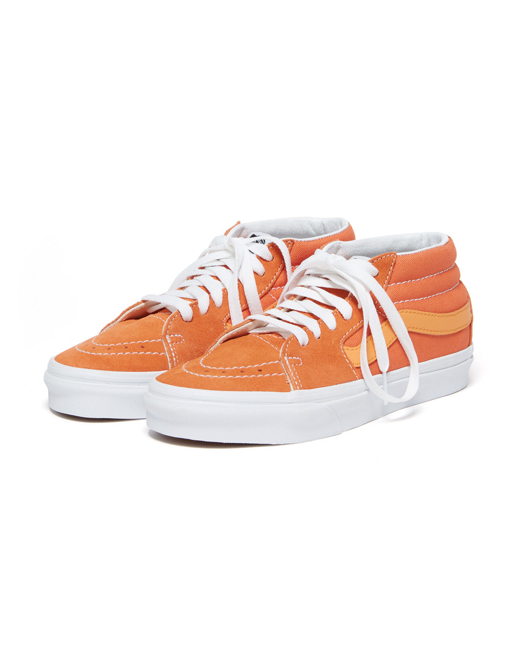 These Sk8-Hi shoes by Vans come in amber orange with yellow accents.