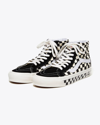 black and white checkered og sk8-hi vans