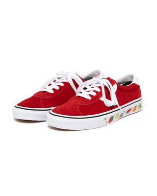 red sport vans with a fruit sidewall design