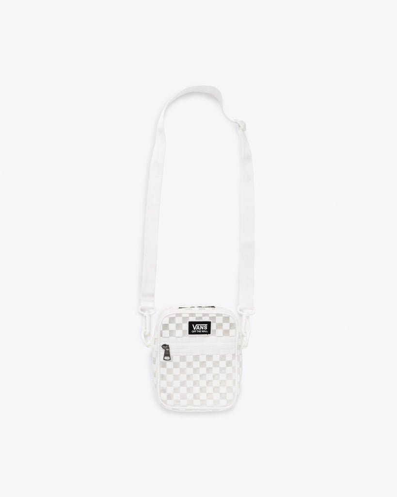 Clear crossbody with classic white Vans checkerboard print and adjustable strap