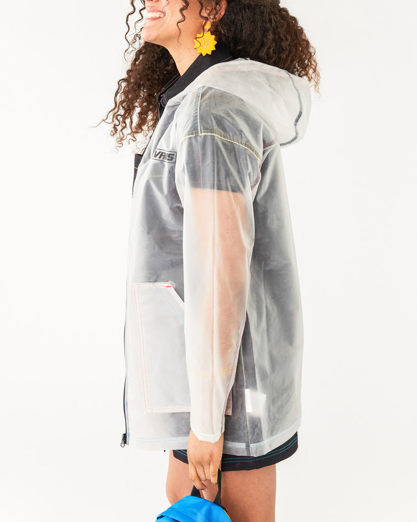 side view of clear rain jacket shown on model