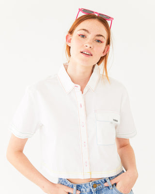 white crop button-up short sleeve shirt shown on model