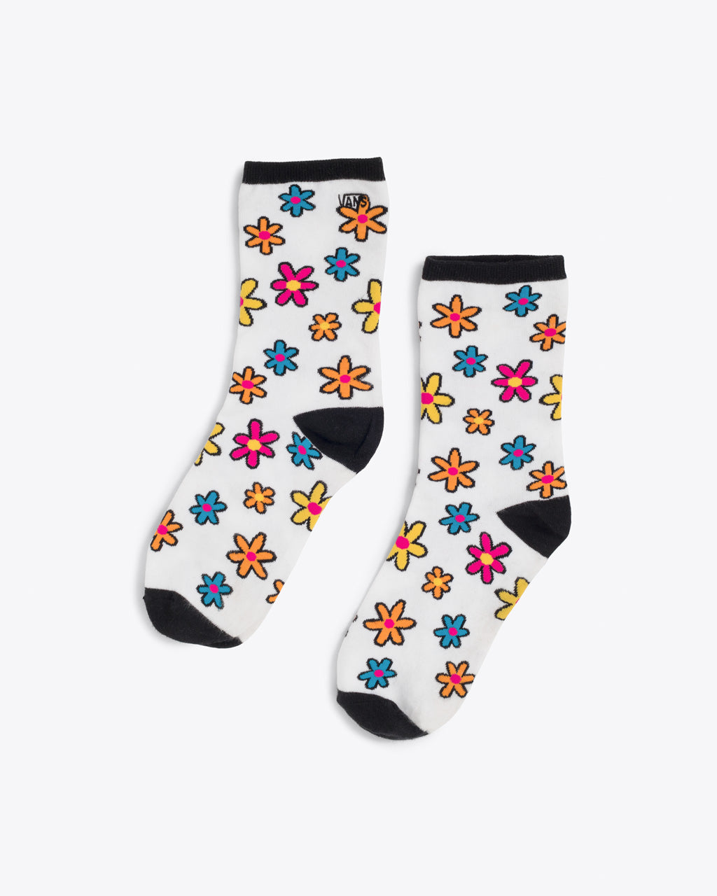 white above the ankle socks with a multi flower pattern and a black heel, toe, and band