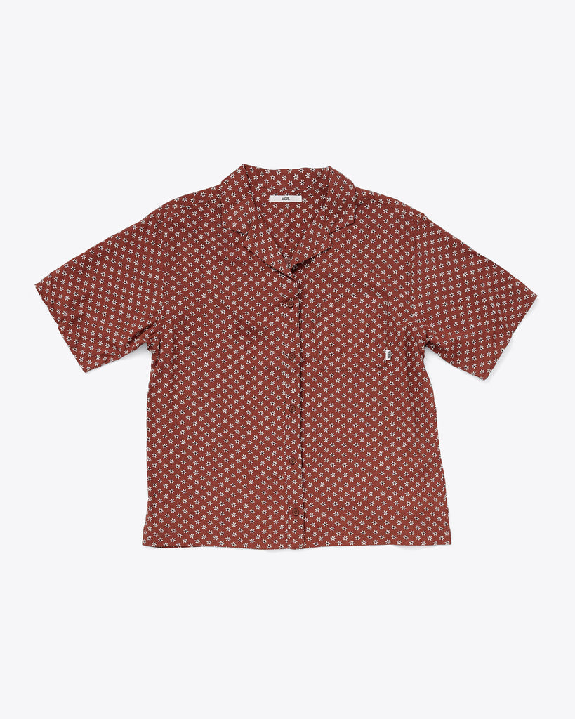 authentic henna burgundy button down top with patch pocket