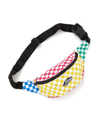 multi colored checkered print fanny pack