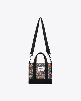 van x Liberty floral print bag with black short handles and adjustable long shoulder strap