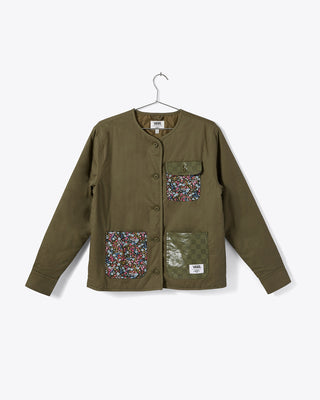 olive green collarless jacket with floral print patch pockets shown on hanger