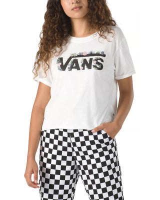 model wearing white tee with Vans logo with floral detail and black and white checkerboard pants
