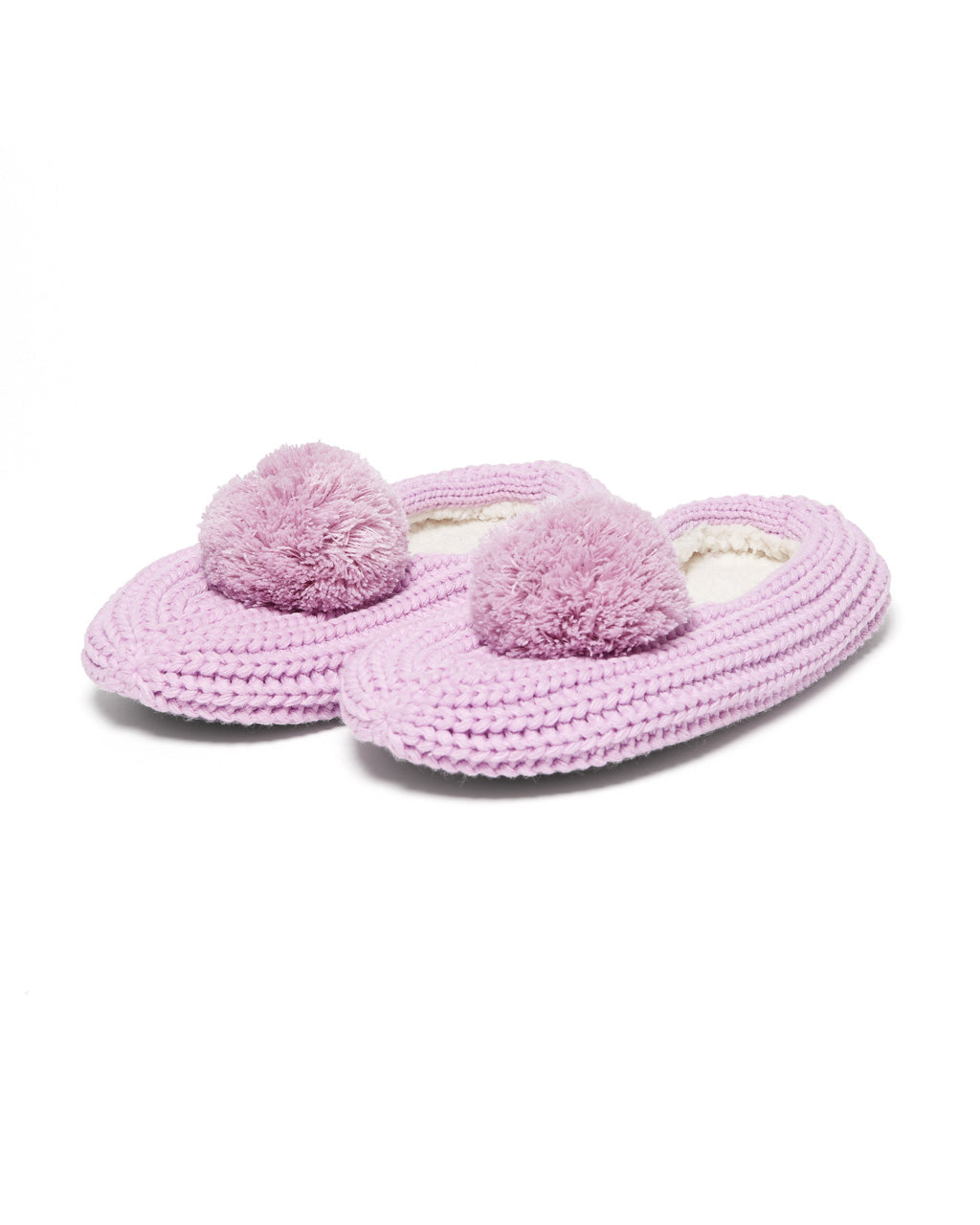 Purple knit slippers with tonal purple pom poms.