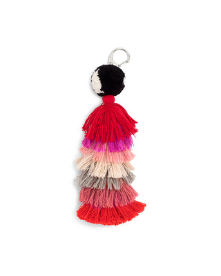 stacked tassel charm - pink ombre