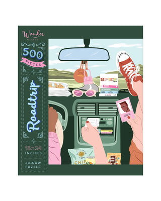 500 piece jigsaw puzzle with a roadtrip theme