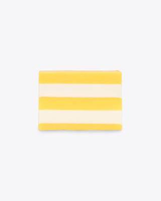yellow and white striped soap bar