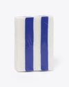 white and blue stripe soap bar