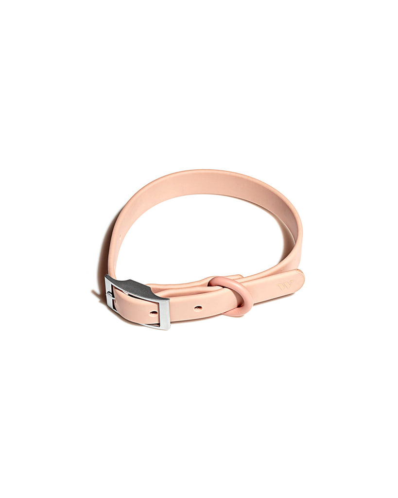 This pet collar comes in a blush pink color.