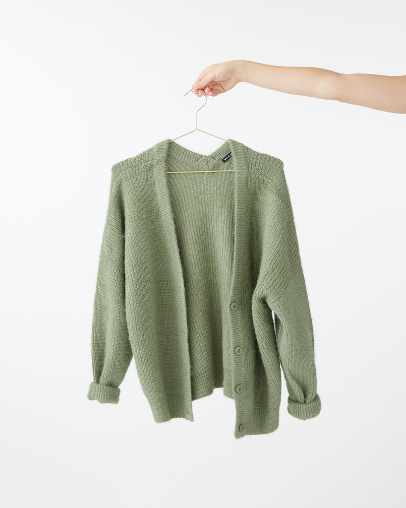 Green oversized cardigan.