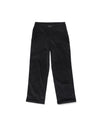 Black corduroy trousers.