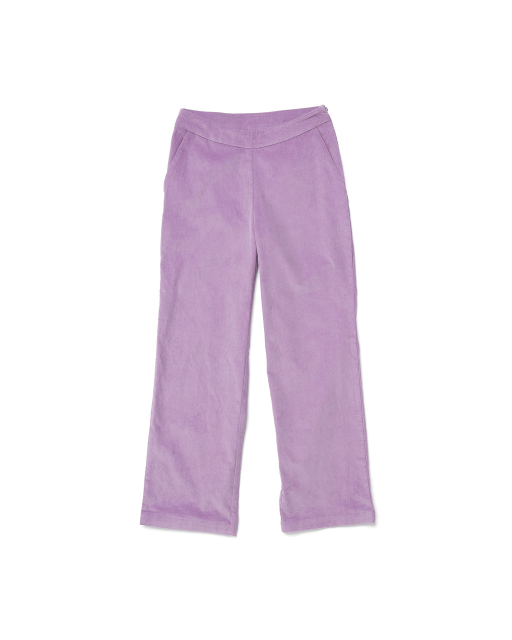 flat view of the front of the lilac corduroy trousers