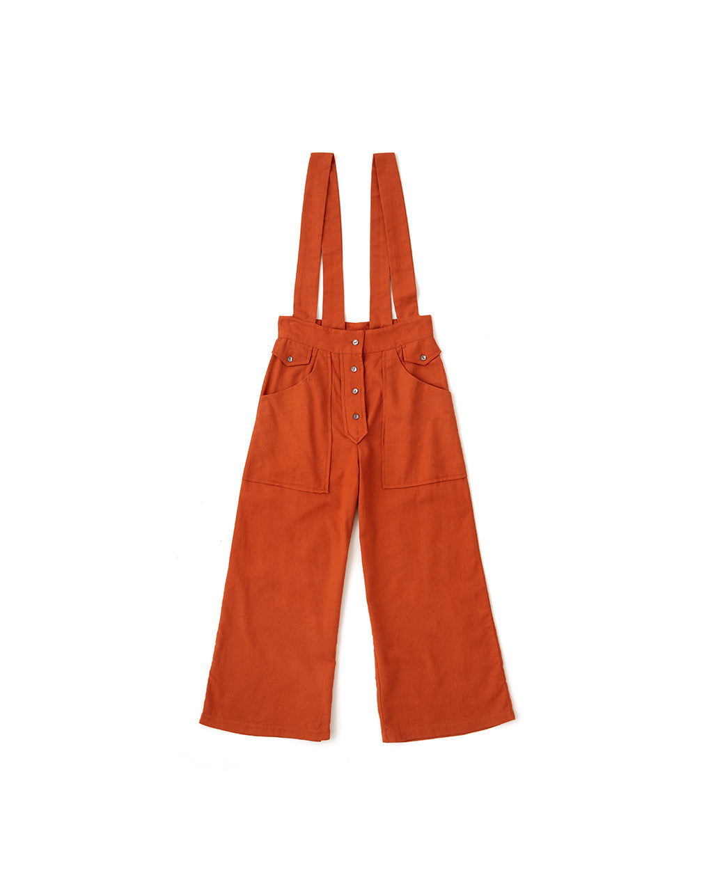 flat view of rust colored overalls with snaps and pockets